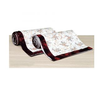 Pure Cotton Single Bedsheet Topsheet Maroon And Off White