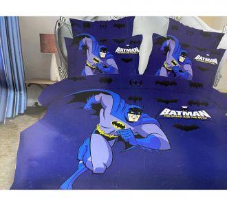 Double Bed Navy Batman Print Kids Bedsheet