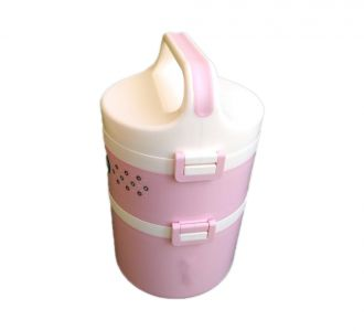 3 Dividers Insulated Lunch Box Baby Pink