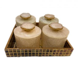 Gold Foiling Mdf Trays With Rin Jars Brown And Gold