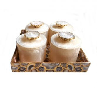 Gold Foiling Mdf Trays With Rin Jars Beige Light Brown And Gold