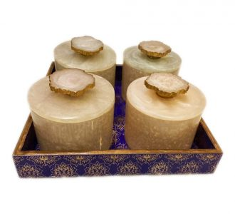 Gold Foiling Mdf Trays With Rin Jars Navy And Gold