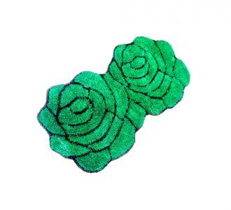 Double Rose 3D Carpets Floor Runners Green