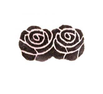 Double Rose 3D Floor Carpets Brown