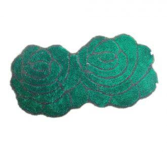 Double Rose 3D Carpets Floor Runners Bottle Green