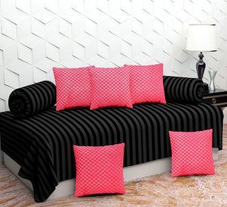 Bollywood 8 Pcs Diwan Set Black And Pink