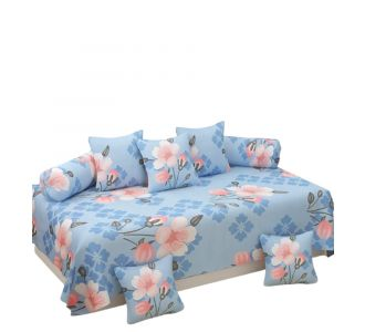 Supersoft 8 Pcs Floral Diwan Set Sky Blue And Peach