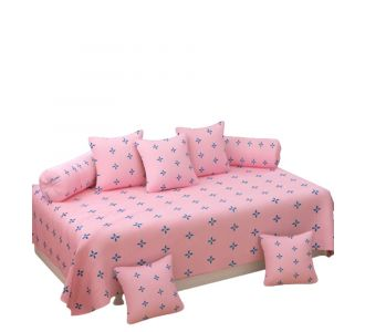 Supersoft 8 Pcs Diwan Set For Home Glace Cotton Pink