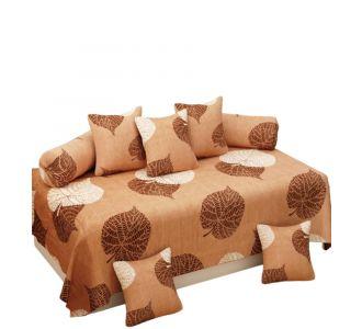 Supersoft 8 Pcs Diwan Set Brown Glace Cotton Set