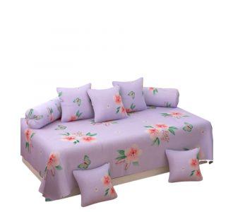 Supersoft 8 Pcs Diwan Set For Home Glace Cotton Floral Lavender Set