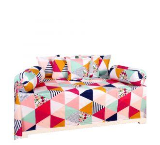 Supersoft 8 Pcs Set Glace Cotton Diwan Set Multicolour