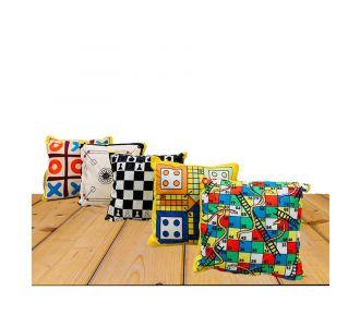 Set Of 5 Multicolor Square Shape Designed Cushion Covers Of Soft Fabric And Semi Plastic