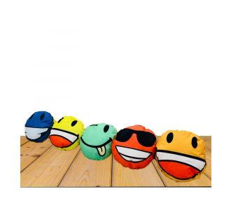 Set Of 5 Cute Emojis Cushion Covers Of Soft Fabric With Semi Plastic