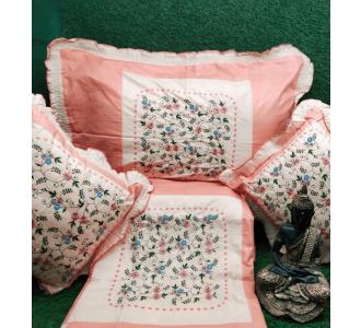 Kashmiri Peach Shade Embroidery Cushion Set 90 X 100