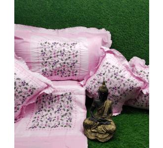 Kashmiri Applique Cushion Set In Baby Pink Shade 90 X 100