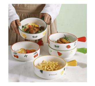 Beautiful Dish With Handles Ceramic Four Piece Set
