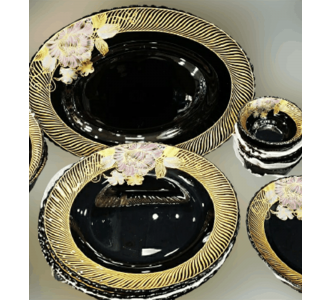 Premium Black Dinner Set 33Pieces Prepared From Glass