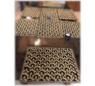 Magnificent Top Quality Beaded Dining Set Includes 1 Runner And 6 Mats Made Of Hand Beaded Fabric
