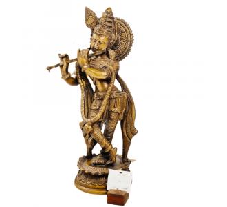 Brass In A Traditional Golden Hue Krishna Is A Heavenly Deity