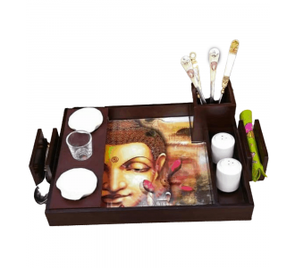 Buddha Chip And Dip Tray 2 Salt And Pepper Container 2 Dip Bowls 1 Cutlery Holder From Mdf Base