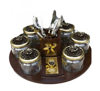 Wonderful Revolving Platter 1 Platter + 6 Jars + 1 Cutlery Holders In Jet Black Colour