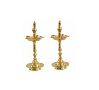 Set Of 2 Creative Golden Colour Pure Brass Composed Kerala Udipi Akhand Diya 4.3 Inch