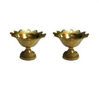 Pure Brass Composed Zealous Kuber Engraved Set Of 2 Diwali Pooja Diva