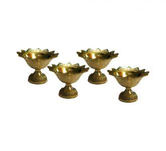 Elite And Pure Brass Composed Divine Kuber Engraved Set Of 4 Diwali Pooja Diva