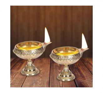 Perky Pure Brass Made Divine Mini Kuber Engraved Set Of 4 Diwali Pooja Diva