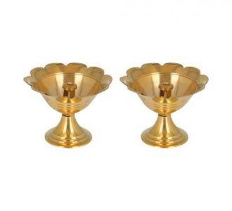 Pure Brass Made Ravishing Mini Kuber Engraved Set Of 2 Diwali Pooja Diva