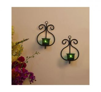 Glamorous Green Glass Cup Tealight Candle Holder With Iron Votive In Set Of 2