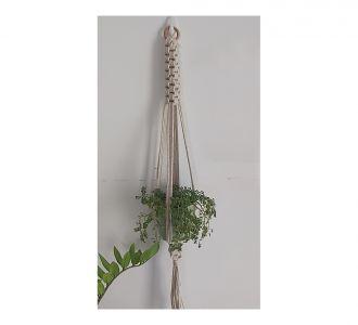 White Swastik Knitted Hanging Planter