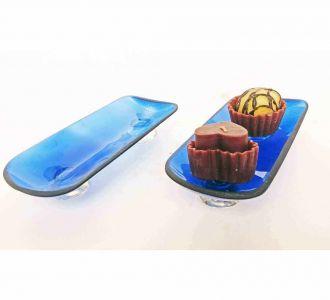 Blue Bottle Platter Set Of 2