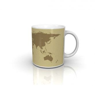 Gorgeous World Map Mug Build From Ceramic Having Biscuit Shade
