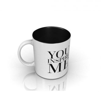 Lovely You Inspire Me Mug Prepared From Ceramic In White And Black Shade