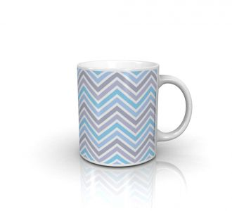 Magnificent Zig Zag Blue Mug Made Out Of Ceramic In Multi Colour