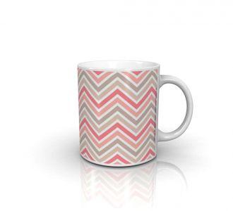 Pretty Zig Zag Pink Mug Prepared With Ceramic In Multi Colour