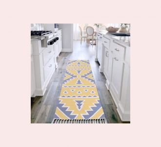 Yellow Gray Color Cotton Floor Covering Arka Runner