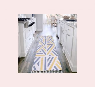 Yellow Grey Natural Color Cotton Floor Covering Talia Runner