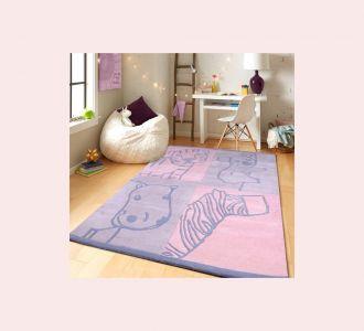 Wild Animal Cartoon Hand Tufted Wool Kids Carpet - Rectangle