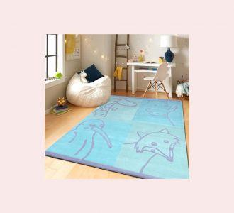 Aquatic Animal Cartoon Hand Tufted Wool Kids Carpet - Rectangle