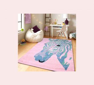 Zebra Multicolor Hand Tufted Wool Kids Carpet - Rectangle