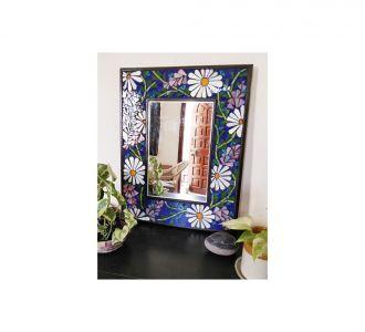 Contemporary Floral Multicolored Mosaic Mirror