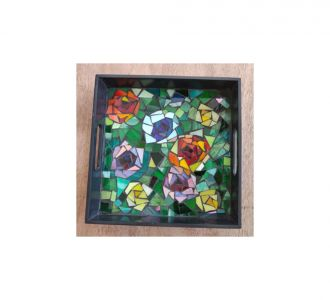 Floral Serving Tray On Stained Glass Mosaic