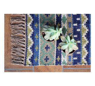 Cotton Tribal Look Area Rug Bedside Runner In Beige