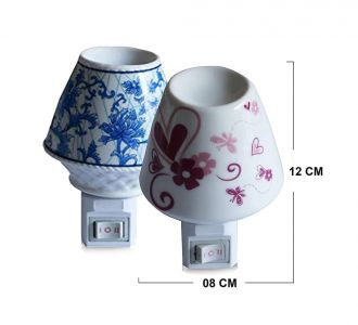 Electric Aroma Diffuser Cum Night Lamp With Adjustable Light Mode Switch Multicolor Set Of 2