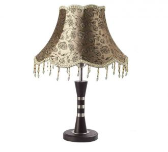Beautiful Bed Side Copper And Dark Wood Floral Printed Hanging Light Table Lamp 60W Led Compatible