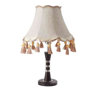 Eye Catchy Off White And Dark Brown Wood Designer Lighting Table Lamp 60W Led Compatible