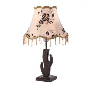 Beautiful Bell Shaped Pink And Brown Floral Printed Holder Dark Wood Designer Table Lamp 60W Led