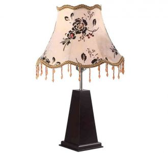 Baby Pink Bell Shaped Table Lamp With Floral Print In Brown And Classic Dark Wood Base 60W Led